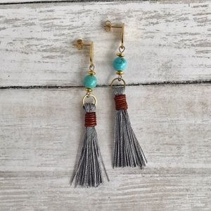 Hand Crafted Turquoise Tassel Earrings